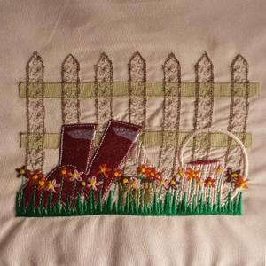digital stitch wellington with hand stitch flowers